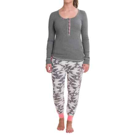 Kensie Henley Pajamas - Long Sleeve (For Women) in Grey Birds - Closeouts