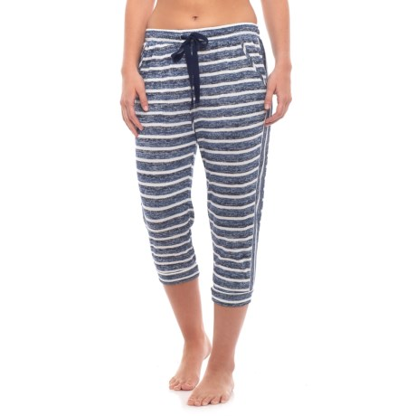 Kensie Knit Capris (For Women) in Blue Stp