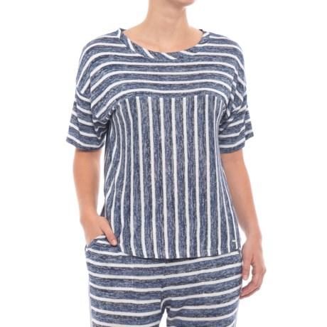 Kensie Knit Pajama Shirt - Short Sleeve (For Women) in Blue Stp