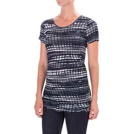 Kensie Lane Printed T-Shirt - Crew Neck, Short Sleeve (For Women) in Navy/Black - Closeouts