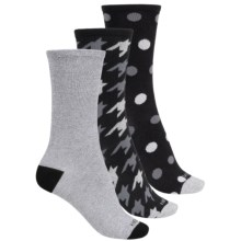 Kensie Light Socks - 3-Pack, Crew (For Women) in Black Hounstooth/Heather/Polka Dot - Closeouts