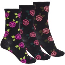 Kensie Light Socks - 3-Pack, Crew (For Women) in Magenta/Red/Pink Floral - Closeouts