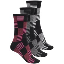 Kensie Light Socks - 3-Pack, Crew (For Women) in Red/Charcoal/Grey Check - Closeouts