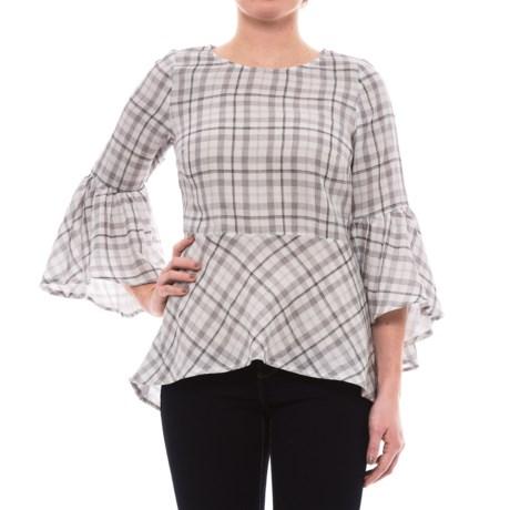 Kensie Plaid Bell Sleeve Shirt - 3/4 Sleeve (For Women) in White 1