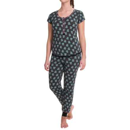 Kensie Scoop Neck Pajamas - Short Sleeve (For Women) in Charcoal Owl - Closeouts
