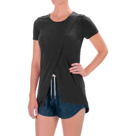 Kensie Slubby Ribbed Shirt - Crossover Front, Short Sleeve (For Women) in Black - Closeouts