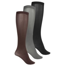 Kensie Solid Trouser Socks - 3-Pack, Over the Calf (For Women) in Black/Charcoal/Chocolate - Closeouts