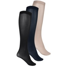 Kensie Solid Trouser Socks - 3-Pack, Over the Calf (For Women) in Navy/Taupe/Black - Closeouts