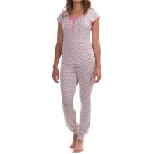 Kensie Stretch-Knit Jogger Pajamas - Short Sleeve (For Women) in Grey/Pink Elephants - Overstock