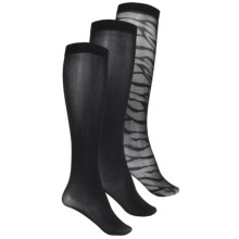 Kensie Trouser Socks - 3-Pack, Over the Calf (For Women) in Black - Closeouts