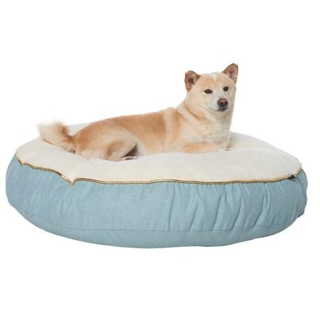 "Kenwood & Co. Heathered Catonic Reversible Round Dog Bed - 35"" in Denim"