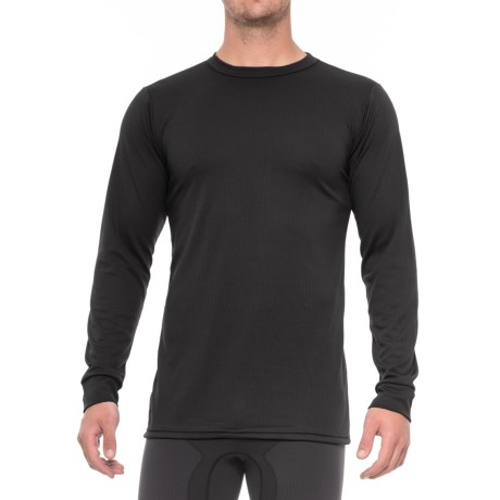 Kenyon Midweight Waffle Base Layer Top - Crew Neck, Long Sleeve (For Tall Men) in Black