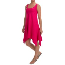 Keyhole Cotton Slub Tank Dress- Sleeveless (For Women) in Fuschia - 2nds