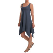 Keyhole Cotton Slub Tank Dress- Sleeveless (For Women) in Navy - 2nds