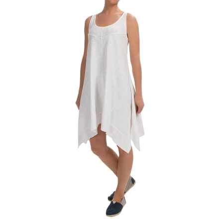 Keyhole Cotton Slub Tank Dress- Sleeveless (For Women) in White - 2nds