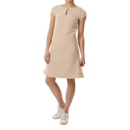 Keyhole Sheath Dress - Short Sleeve (For Women) in Beige - 2nds