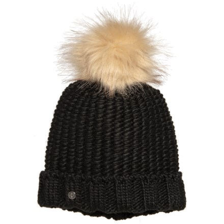 0b1fd6ef75a Khombu Beanie with Faux-Fur Pom (For Women) in Black - Closeouts