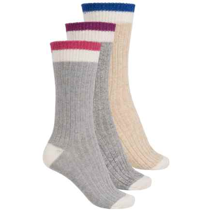 Khombu Boot Socks - 3-Pack, Crew (For Women) in Charcoal/Navy - Closeouts