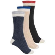 Khombu Boot Socks - 3-Pack, Wool Blend, Crew (For Women) in Black/Navy/Beige - Closeouts