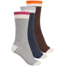 Khombu Boot Socks - 3-Pack, Wool Blend, Crew (For Women) in Brown/Navy/Light Blue - Closeouts