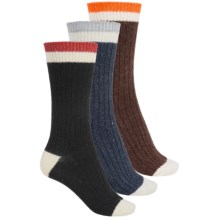 Khombu Boot Socks - 3-Pack, Wool Blend, Crew (For Women) in Navy/Brown/Black - Closeouts