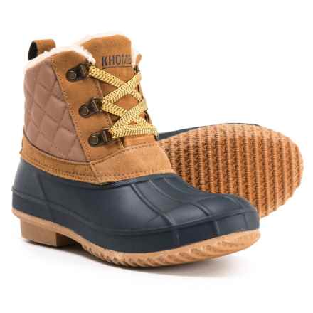 Khombu Dixie Ankle Duck Boots - Waterproof, Insulated (For Women) in Tan/Navy - Closeouts