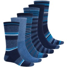 Khombu Half-Cushion Socks - 6-Pack, Crew (For Men) in Navy - Closeouts