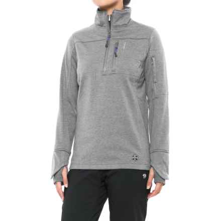 Khombu Heathered Fleece Jacket - Zip Neck (For Women) in Gray - Closeouts