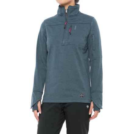 Khombu Heathered Fleece Jacket - Zip Neck (For Women) in Navy - Closeouts