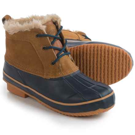 Khombu Helen Ankle Pac Boots - Waterproof, Suede (For Women) in Tan/Navy - Closeouts