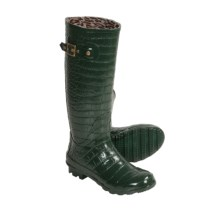 Khombu Kaymen Embossed Rubber Rain Boots (For Women) in Spruce - Closeouts