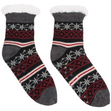 Khombu Knit Sweater Socks - Crew (For Women) in Black/Charcoal Fairisle - Closeouts