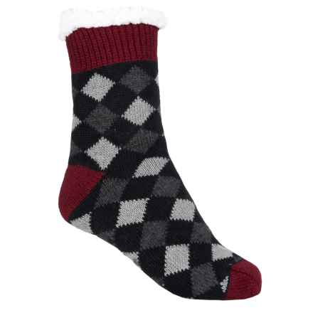 Khombu Knit Sweater Socks - Crew (For Women) in Black/Red - Closeouts