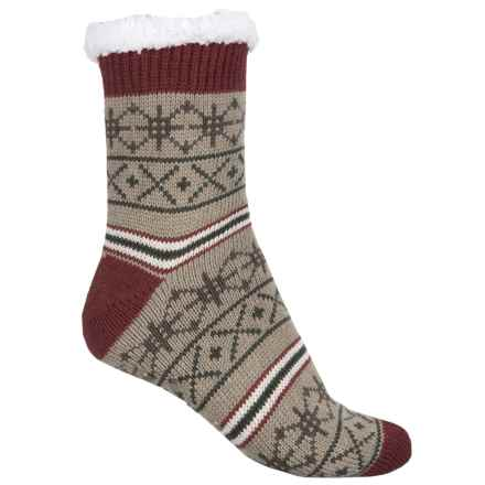 Khombu Knit Sweater Socks - Crew (For Women) in Camel/Rust - Closeouts
