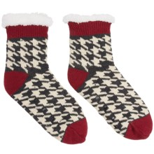 Khombu Knit Sweater Socks - Crew (For Women) in Charcoal/Red Houndstooth - Closeouts