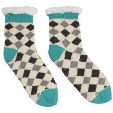 Khombu Knit Sweater Socks - Crew (For Women) in White/Turquoise Diamond - Closeouts