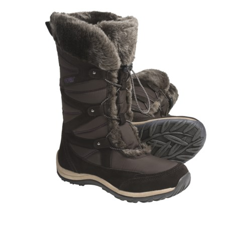 Khombu Marker Winter Boots - Suede-Nylon, Faux-Fur Lined (For Women) in Dark Brown