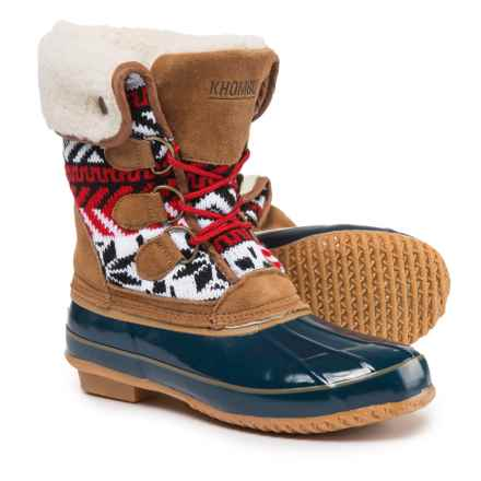Khombu Mayanna Duck Boots - Waterproof, Insulated (For Women) in Tan/Blue - Closeouts