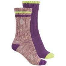 Khombu Melange Socks - 2-Pack, Crew (For Women) in Purple/Pink - Closeouts