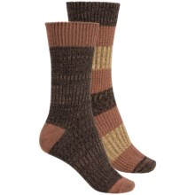 Khombu Mix Texture Socks - 2-Pack, Crew (For Women) in Brown - Closeouts