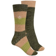 Khombu Mix Texture Socks - 2-Pack, Crew (For Women) in Olive - Closeouts