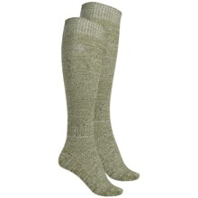 Khombu Mix Textured Knee-High Socks - 2-Pack, Over the Calf (For Women) in Olive - Closeouts