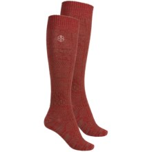 Khombu Mix Textured Knee-High Socks - 2-Pack, Over the Calf (For Women) in Rust - Closeouts