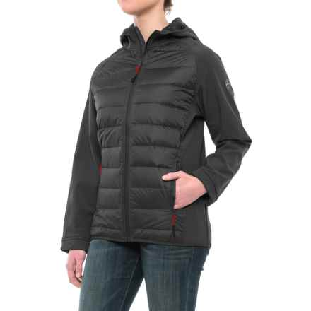 Khombu Mixed Media Fleece Down Jacket (For Women) in Black - Closeouts