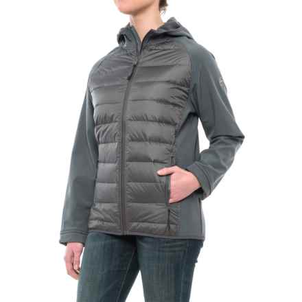 Khombu Mixed Media Fleece Down Jacket (For Women) in Gray - Closeouts