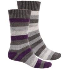 Khombu Nub Stripe Socks - 2-Pack, Crew (For Men) in Grey - Closeouts