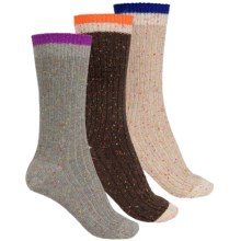 Khombu Nub Yarn Boot Socks - 3-Pack, Crew (For Women) in Beige/Brown/Grey - Closeouts