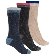 Khombu Nub Yarn Boot Socks - 3-Pack, Crew (For Women) in Black/Beige/Navy - Closeouts