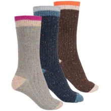 Khombu Nub Yarn Boot Socks - 3-Pack, Crew (For Women) in Brown/Grey/Navy - Closeouts