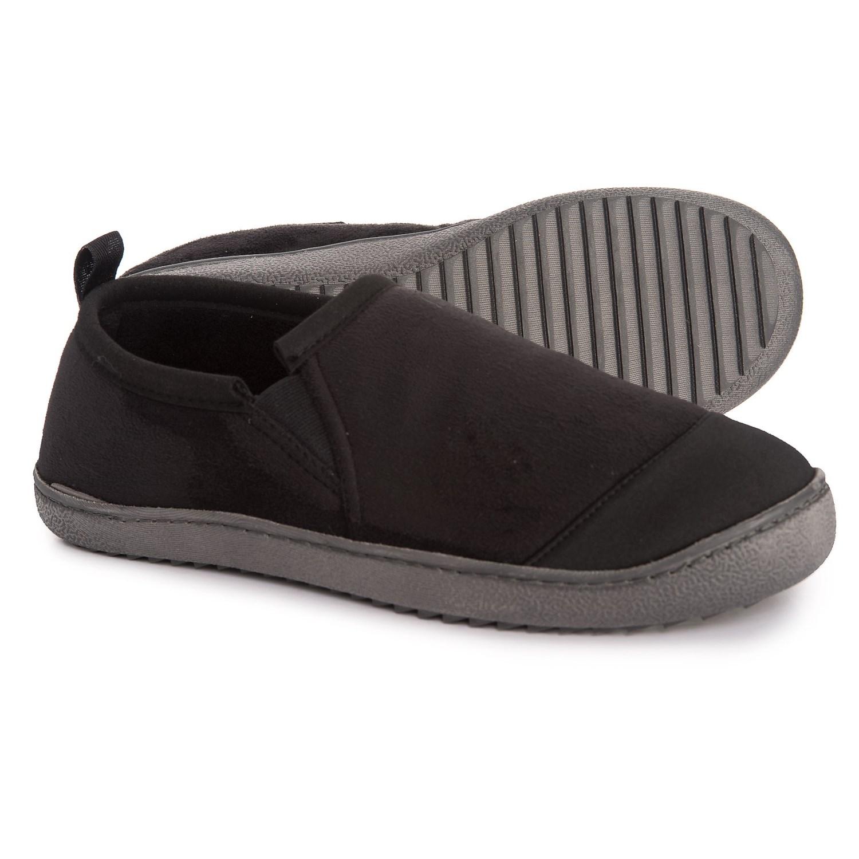 Khombu Omnimoc Microsuede Slippers (For Men) in Black